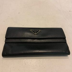 Genuine Leather Prada Wallet Black